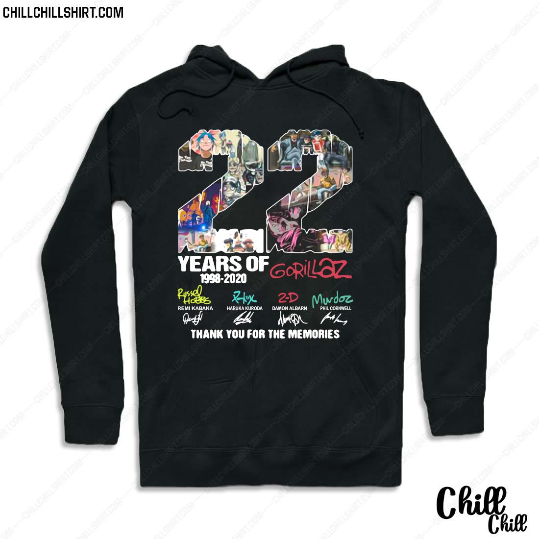 22 Years Of 1998 2020 Gorillaz Thank You For The Memories Signatures Shirt Hoodie