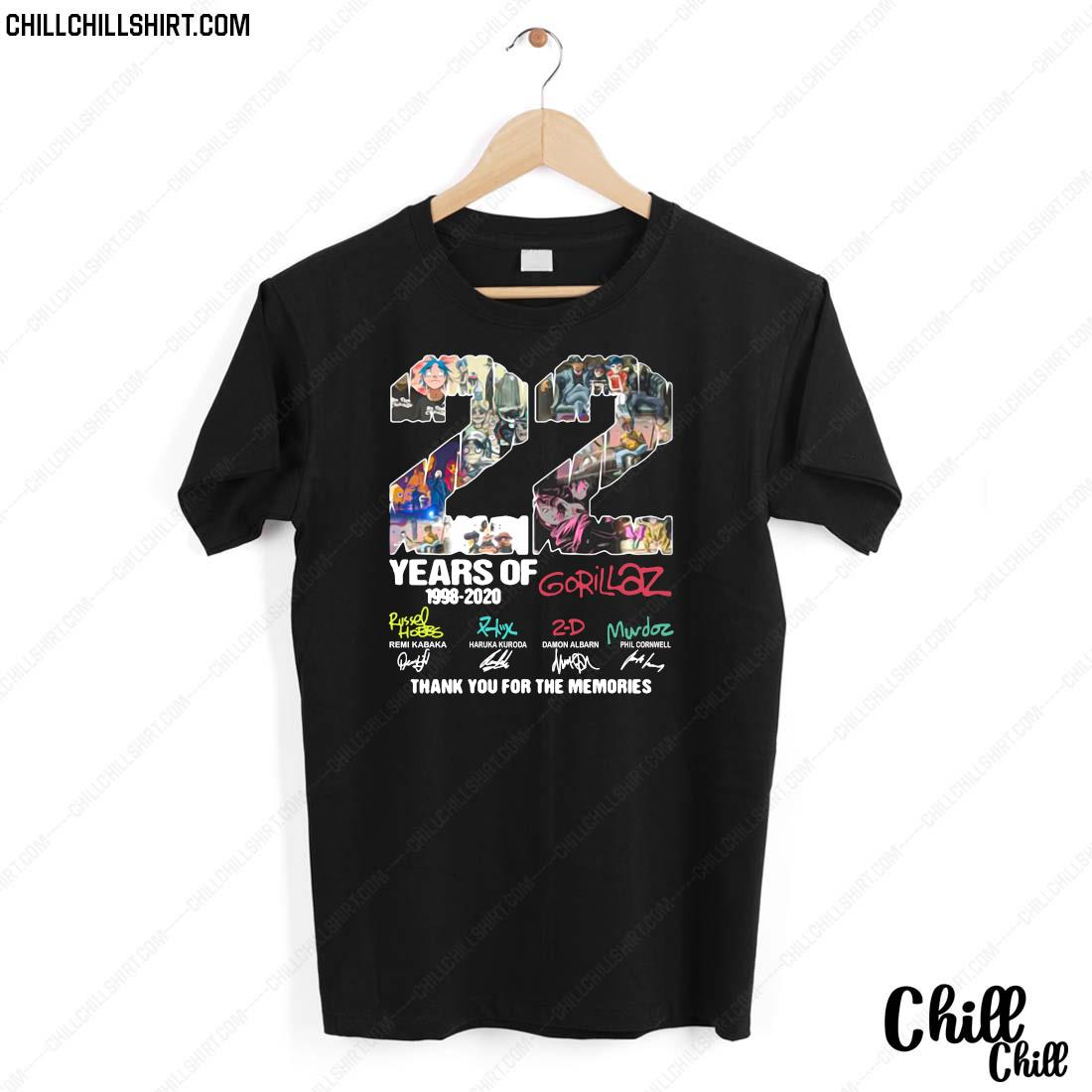 22 Years Of 1998 2020 Gorillaz Thank You For The Memories Signatures Shirt