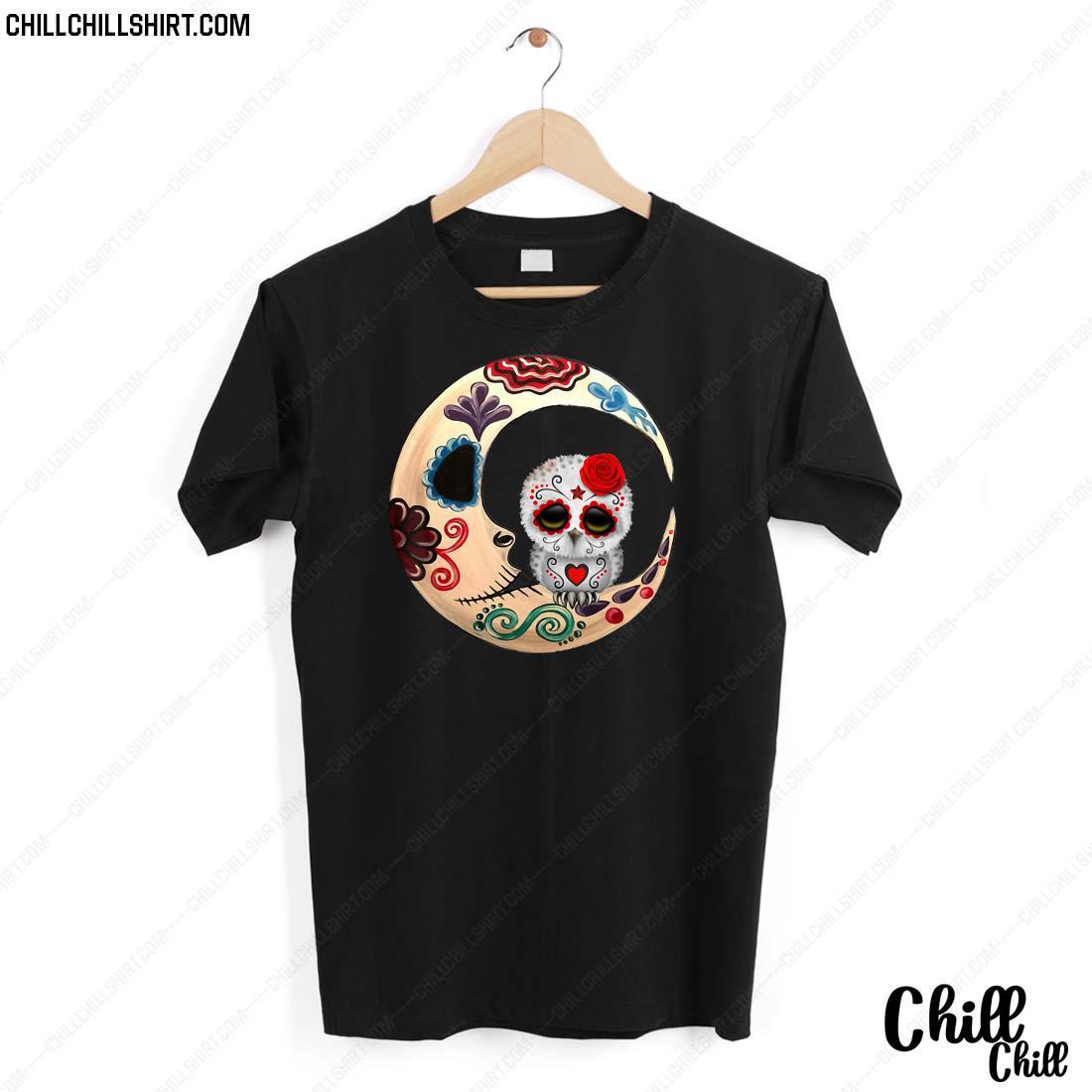Owl Sugar Skull Love You To The Moon _ Back Halloween Gift Shirt