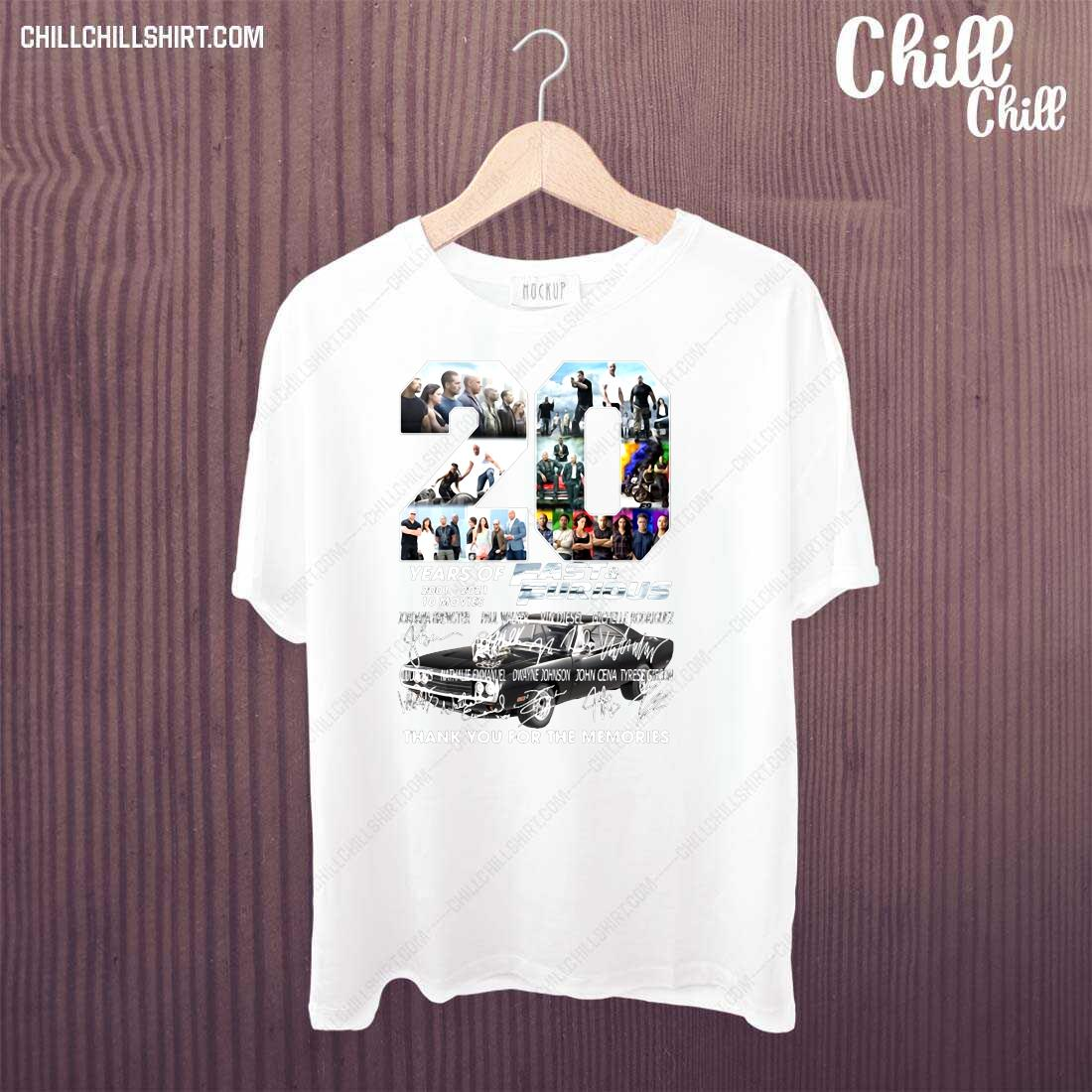 20 Years Of Fast Furious 2001-2021 10 Movies Thank You For The Memories Shirt